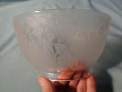 Antique Flowers And Leaves Pattern Etched Gas Lamp Light Shade Vintage