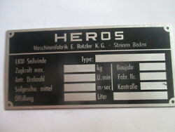 Nameplate Heros Rotzler Rope Winch Spill German Armed Forces Ww Wk 2 Ii Man S54