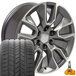 5916 Gunmetal 20x9 Wheels, Goodyear Tires, Tpms Set Fit Gmc And Chevy