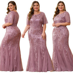 US Ever-Pretty Plus Size Mersmaid Sequin Celebrity Prom Dress Mesh Cocktail Gown