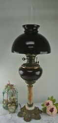 Vintage Burgundy Glass Marble Brass Base Banquet Oil Lamp Electrified
