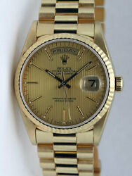 Rolex Day Date President Yellow Gold Champagne Tapestry 18238 36mm - WATCH CHEST