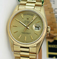 Rolex Day Date President Gold Champagne Tapestry 18238 36mm - WATCH CHEST