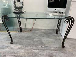 Glass Table With Iron Ends 32x58. One Chip As Is. Beautiful Table.