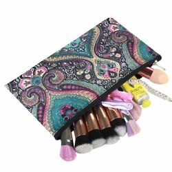 Women Small Cosmetic Bag Makeup Organizer for Camping Hiking Travel Blue Paisley $6.49