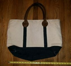 Restoration Hardwear Canvas And Leather Tote Bag Carry On Travel Day Zips Closed