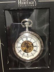 The Heritage Collection Mechanical Pocket Watch Antique Style Silver