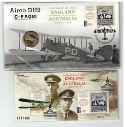 2019 Brisbane Stamp And Coin Fair Silver Op, England To Australia Flight Pnc And Ms