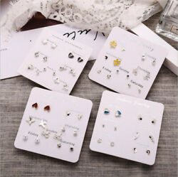 6 Pairs Fashion Rhinestone Crystal Pearl Earrings Set Female Ear Stud Jewelry