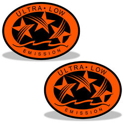Ultra Low Emission 3 Star California Dot Outboard Graphic Sticker Decal - Orange