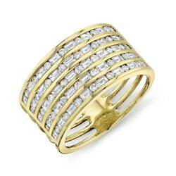 14k Yellow Gold Channel Set Baguette Round Cut Wide Diamond Ring Womens Size 7