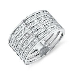 Channel Set Baguette Round Cut Wide Diamond Ring 14k White Gold Womens Size 7