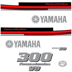 Yamaha 300 Four Stroke Die Cut Decals Outboard Engine Graphic Motor 300hp Red