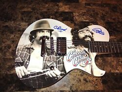 Cheech And Chong Signed Limited Edition Schecter Guitar Tommy Marin Bas Coa Proof