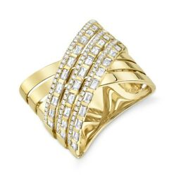 14k Yellow Gold Baguette Diamond Crossover X Ring Criss Cross Womens Cocktail