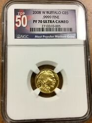 2008-W American Gold Buffalo Proof 1/10 oz  $5 - NGC PF70 UCAM top 50 label