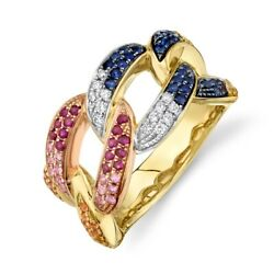 Diamond Multi Color Gemstone Chain Link Ring 14k Yellow Gold Womens Cocktail 7