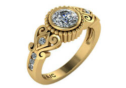 1.0 Ct E Si1 Round Diamond Solitaire Engagement Wedding Ring Set 18k Yellow Gold