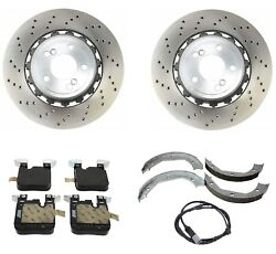 Genuine Rear Brake Kit Disc Rotors Pads Shoes And Wear Sensor For Bmw F87 M2 16-19