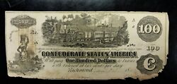 1862 100 Confederate Note Csa Type 39 Elongated A At Top