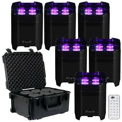 American Dj Element Hex Wireless Dmx Battery Powered Led Pars 6 Pack + Case