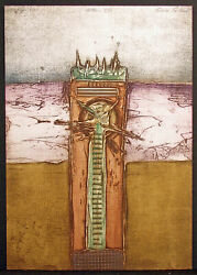 Embroli Totem Viii Collagraph Signed Numbered Abstract Art 1980s Make Offer