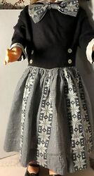 Vintage 1950's 1960's Girls Black & White Party Dress