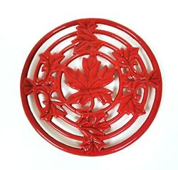 New Maple Leaf Candy Apple Red Cast Iron Round Metal Footed Trivet