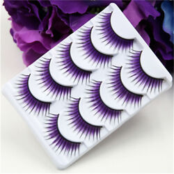 Creative Korean Purple False Eyelashes Thick Stage Color Fiber Hard Terrier New