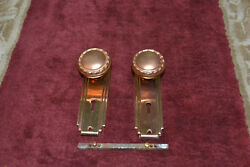 1 Set Of Old Time Brass Door Knobs And Face Plates Nice  9