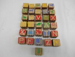 Antique Alphabet Letter Object Learning Wood Blocks Slotted Sides Lot 31 Childs