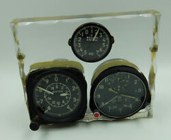 Achs-1m Russian Ussr Military Airforce Aircraft Cockpit Clock + Vd-20 Altimeter