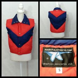 Mountain Products Vintage Down Vest Womens S Red/blue 1990s Atomic Invz1666