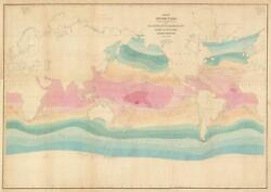 1842 Wilkes Map Of The World On Mercator Projection W/ Isothermal Lines