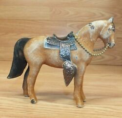 Vintage Metal Brass Color Carnival Fair Prize Collectible Horse Figurine Read