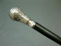 Silver Brass Handle Vintage Cane Antique Wooden Walking Stick Christmas Gift $32.70