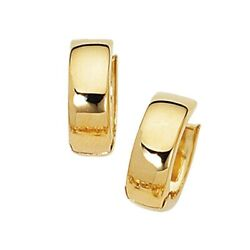 Cute Small All Polished Plain Huggie Hoop Earrings Real 14K Yellow Gold $169.15