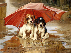 Beagle Puppies Under an Umbrella Dogs DIY Counted Cross Stitch Pattern
