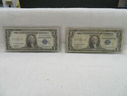 1935 A 1 Silver Certificates Surcharge Notes R And S F-1609 And F-1610