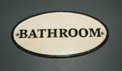 Bathroom Oval Cast Iron Sign Restroom Outhouse Man Cave Powder Room Lavatory