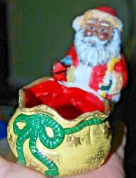 Jolly BLACK SANTA CLAUS Candle Holder Father Christmas African American Tea Lite