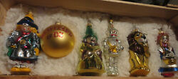 Kurt Adler Polonaise Wizard Of Oz Glass Ornaments Set Of 6 In Wood Crate Lim Ed