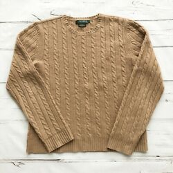 Ralph Lauren 100% Cashmere womens L Large Sweater Pullover Cable Knit Camel Tan