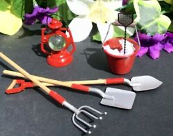Vintage Miniature Dollhouse Accessories- Red Railroad Light, Outdoor Tools, Red