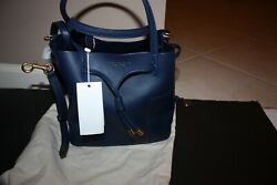 TORY BURCH Block t Small Bucket Leather Bag Royal Navy 50224 NWT $181.99