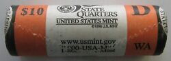 2007-d Mint Wrapped Roll Of 40 Washington State Quarters Unopened And Unsearched