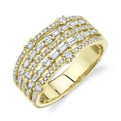 Womens Baguette Diamond Ring Band 14k Yellow Gold Multi Open Row Cocktail Size 7
