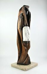 Vintage Wood Carved Art Sculpture Young Lady, Old Acacia Wood, Carrara Marble