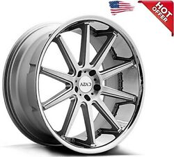 4ea 22 Staggered Azad Wheels Az95 Silver Brushed With Chrome Ss Lip Rimss1