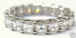 Natural Asscher Cut Diamond Solid White Gold Eternity Band 3.00ct Size 5